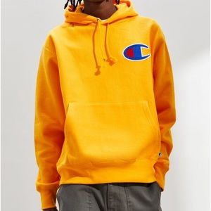 Champion logo yellow mustard hoodie Large NWT!